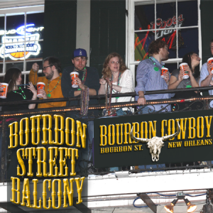 bourbon street balcony party at bourbon cowboy, 241 bourbon street, New Orleans, LA 70130