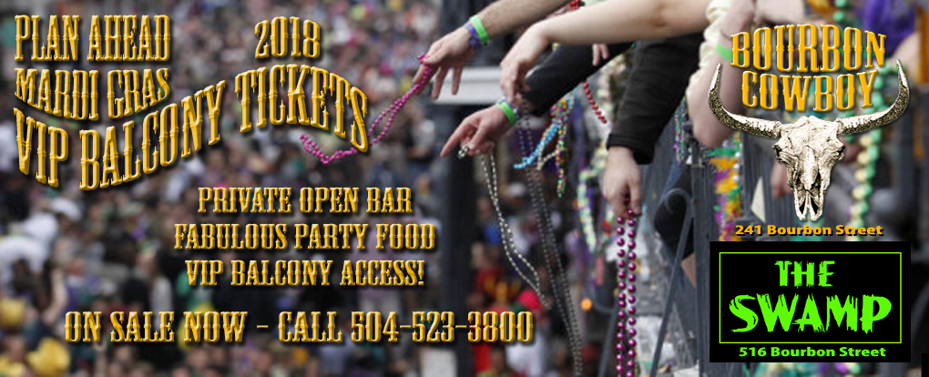 plan ahead! Mardi Gras 2018 bourbon street balcony tickets on sale now
