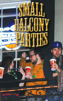 small balcony parties at bourbon cowboy
